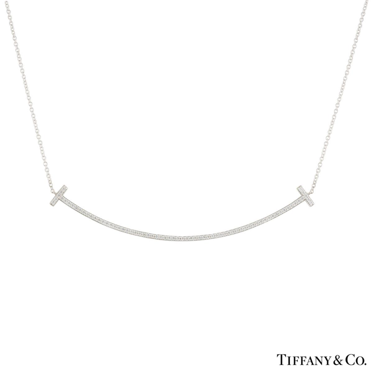 Tiffany & Co. White Gold Diamond T Smile Pendant
